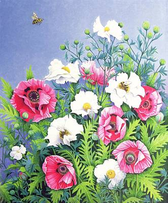 Bouquets Of Pink Flowers Green Blue Painting - Honey Bee, Honey Bee  by Pat Scott