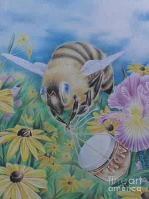 Honeybee With Daisies Print by Charity Goodwin