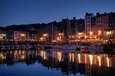 Honfleur At Night Print by CR  Courson
