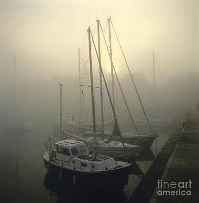 Haze Photograph - Honfleur Harbour In Fog. Calvados. Normandy by Bernard Jaubert