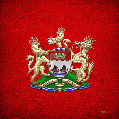 Hong Kong - 1959-1997 Coat Of Arms Over Red Leather  Original by Serge Averbukh
