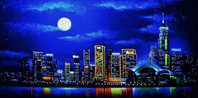 Hong Kong By Black Light Print by Thomas Kolendra