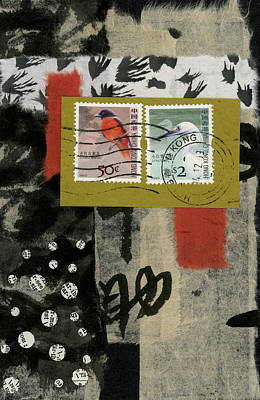Post Mixed Media - Hong Kong Postage Collage by Carol Leigh