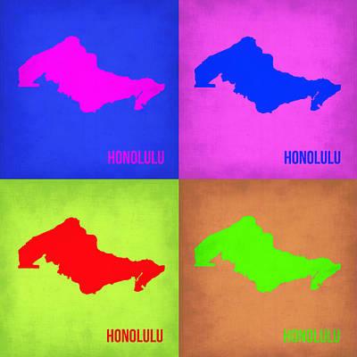 City Map Painting - Honolulu Pop Art Map 1 by Naxart Studio