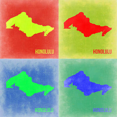 City Map Painting - Honolulu Pop Art Map 2 by Naxart Studio