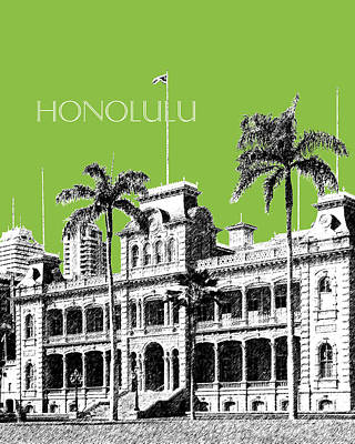 Pen Digital Art - Honolulu Skyline Iolani Palace - Olive by DB Artist