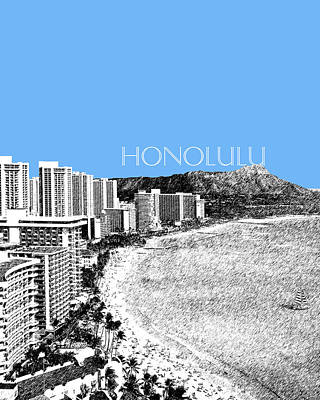 Pen Digital Art - Honolulu Skyline Waikiki Beach - Light Blue by DB Artist