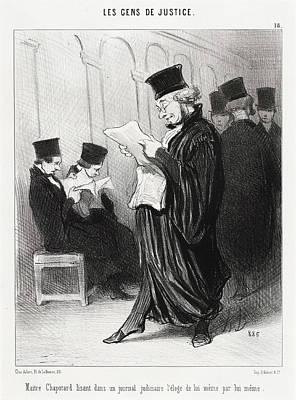 Honoré Daumier, Maitre Chapotard Lisant Léloge De Print by Quint Lox