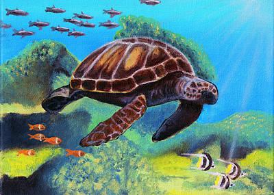 Hawaii Sea Turtle Painting - Honu by Kawika Kahiapo