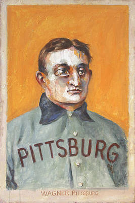 Baseball Card Painting - Honus by Kurt Riemersma