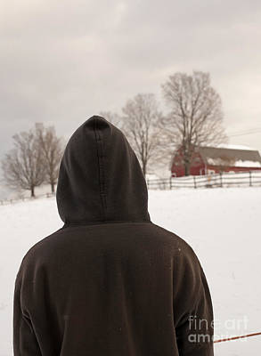 Country Scenes Photograph - Hooded Boy At Farm In Winter by Edward Fielding