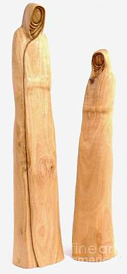Olive Wood Sculpture Sculpture - Hooded Figures  by Eric Kempson