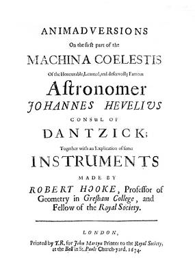 Hooke On Hevelius, 1674 Print by Science Photo Library