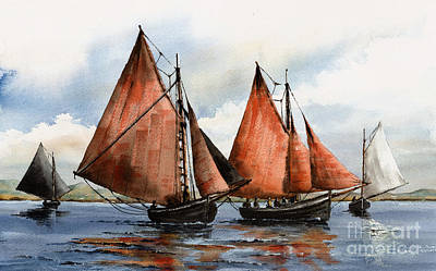 Hookers On Galway Bay Print by Val Byrne