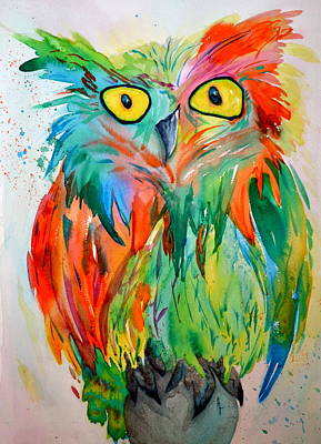 Fireworks Painting - Hoot Suite by Beverley Harper Tinsley