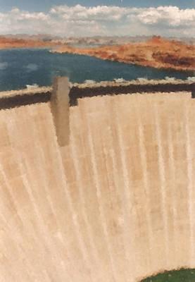 Digital Art - Hoover Dam Seen From Hoover Dam Bridge_painting by Asbjorn Lonvig