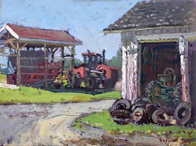 Barn Landscape Painting - Hoover Farm In Sanborn by Ylli Haruni