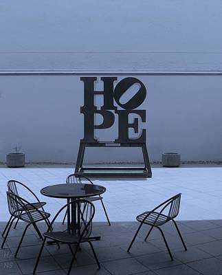 Indiana Scenes Digital Art - Hope And Chairs In Cyan by Rob Hans