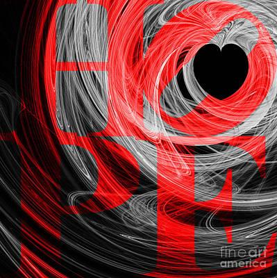 Hope Fractal Heart 20130710 V2b Print by Wingsdomain Art and Photography