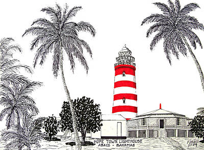 Hope Town Lighthouse Drawing Original by Frederic Kohli