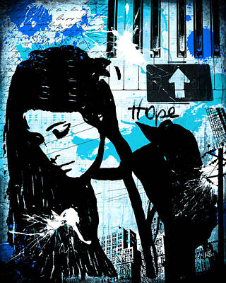 Girls Digital Art - Hope Turquoise by Melissa Smith