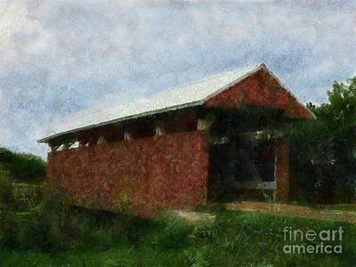 Covered Bridge Painting - Hopewell Church Somerset Ohio by Scott B Bennett