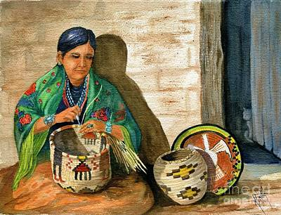 Diamond Bracelet Painting - Hopi Basket Weaver by Marilyn Smith