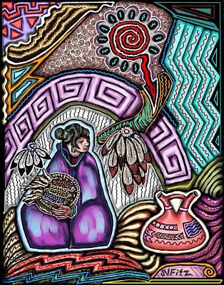Hopi Drawing - Hopi Corn Festival by John  Fitzgerald