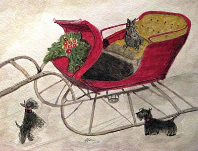 Scottish Dog Painting - Hoping For A Sleigh Ride by Angela Davies