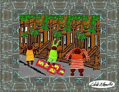 Hopscotch In Harlem Print by Cibeles Gonzalez