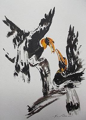 Hornbill Painting - Hornbill  by Pornchai Lerttamasiri