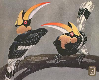 Hornbill Drawing - Hornbills by Ethleen Palmer
