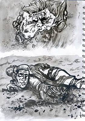 George Bush Drawing - Horrific Deaths In Iraq by Mike Miller