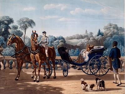 Livery Drawing - Horse And Carriage, First Half C19th by Henri d'Ainecy, Comte de Montpezat
