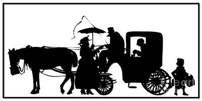 Scherenschnitte Digital Art - Horse And Carriage Silhouette by Rose Santuci-Sofranko