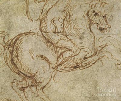 Mount Rushmore Drawing - Horse And Cavalier by Leonardo da Vinci