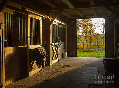 Stall Photograph - Horse Barn Sunset by Edward Fielding