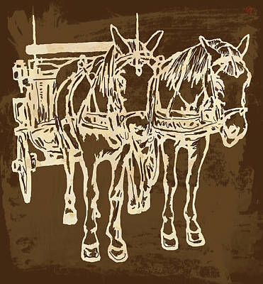 Horse Carriage - Stylised Pop Modern Etching Art Portrait - 1 Print by Kim Wang