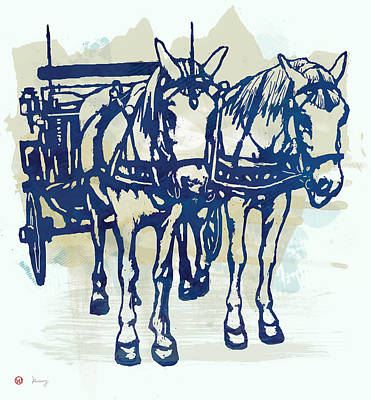 Horse Carriage - Stylised Pop Modern Etching Art Portrait Print by Kim Wang
