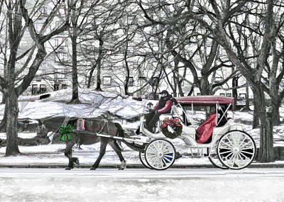 Horse Drawn Carriage Painting - Horse Drawn Carriage In Nyc by Elaine Plesser