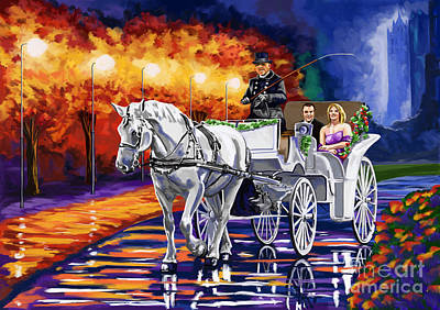 Rain Painting - Horse Drawn Carriage Night by Tim Gilliland