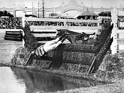 Horse Dumps Rider In Pond Print by Underwood Archives