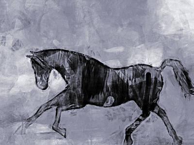 Black And White Horses Digital Art - Horse Greyscale by Lutz Baar