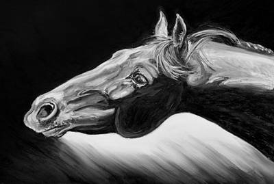 Horse Head Black And White Study Print by Renee Forth-Fukumoto