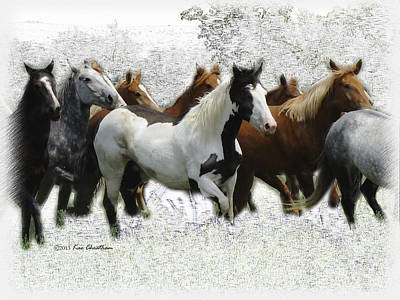 Montana Digital Art - Horse Herd #3 by Kae Cheatham