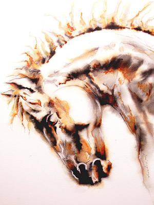 Horse I White Print by Jose Espinoza