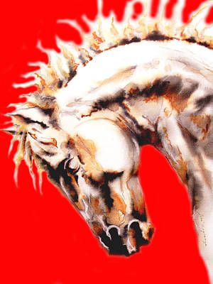 Abstract Head Horse In Red Print by Jose Espinoza
