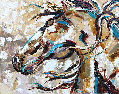 Horse In Snow Print by Laurie Pace