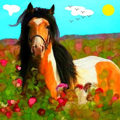 Horse Painting - Horse In The Field by Bruce Nutting