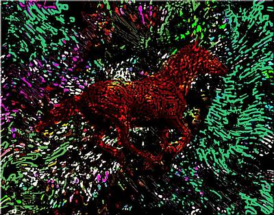 Animals Painting - Horse In The Forest In Abstract Art by Mario Perez